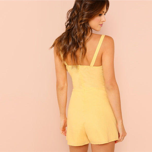 SHEIN Yellow Weekend Casual Pocket Patched Straps Sleeveless Solid Mid Waist Romper Summer Women Going Out Jumpsuit
