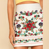 Flower Embroidered High-Waist Skirt