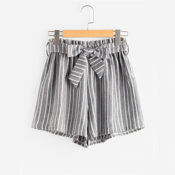 Striped High-Waist Grey Shorts