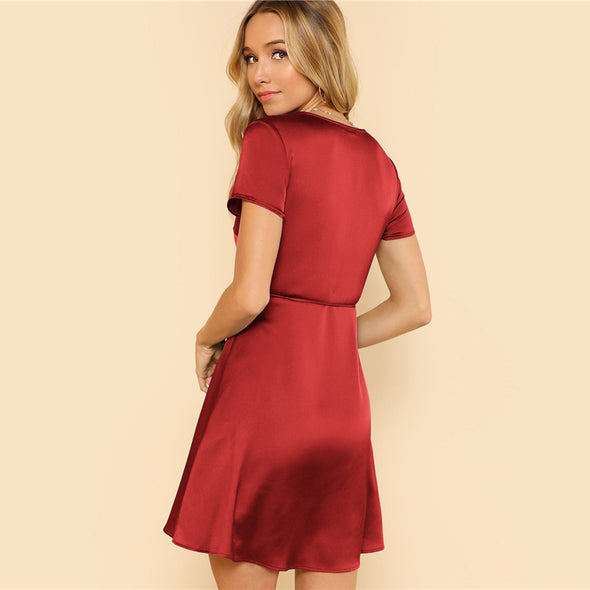 Surplice Wrap Solid Red Dress