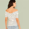 Off The Shoulder Front Striped Top