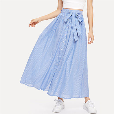 Blue Vacation Boho Beach Mid Waist Skirt