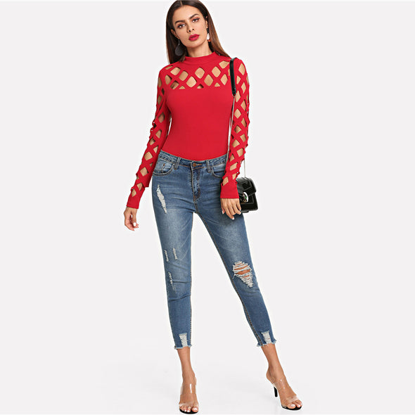 Red Square Cutout Shoulder Fitted Top