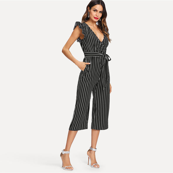 Black and White Elegant Stripe Jumpsuit