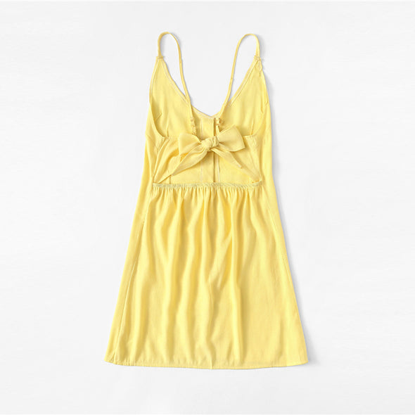 Yellow Knot Button Open Back Cami Dress