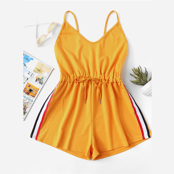 Yellow Striped Tape Side Cami Romper