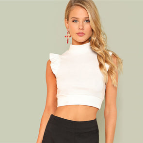 Slim Ruffle Crop Top