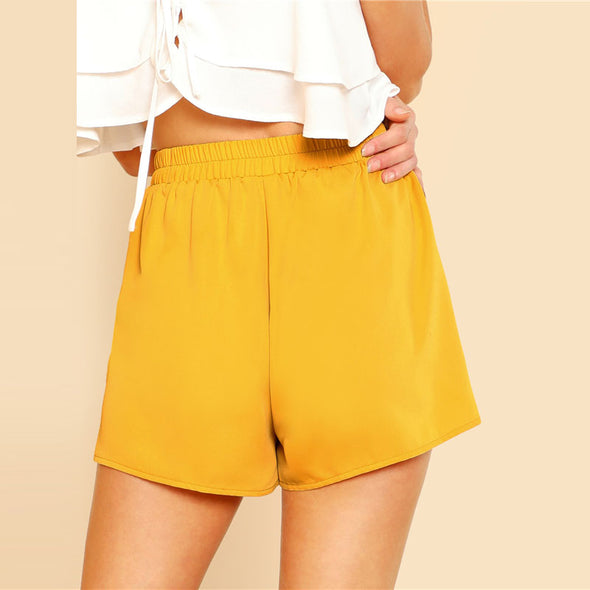 Yellow Frill Mid-Waist Shorts