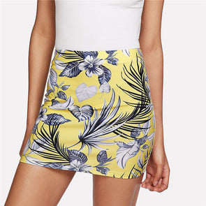 Tropical Print High-Waist Skirt