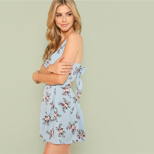 Twist Front Pleated Floral Romper