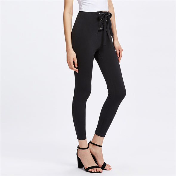 Elegant Grommet Lace Up Leggings