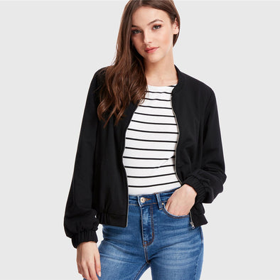 Black Varsity Zip Up Jacket