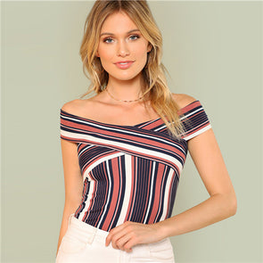 Criss Cross Front Off Shoulder Stripe Top