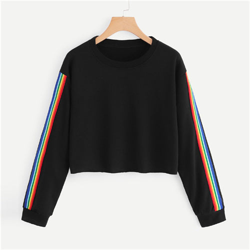 Rainbow Side Striped Crop Top Sweater
