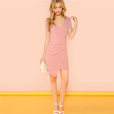 Pink Solid Surplice Dress