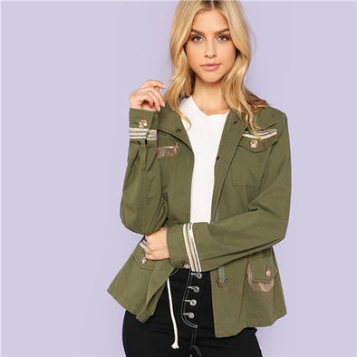 Army Green Fringe Detail Jacket