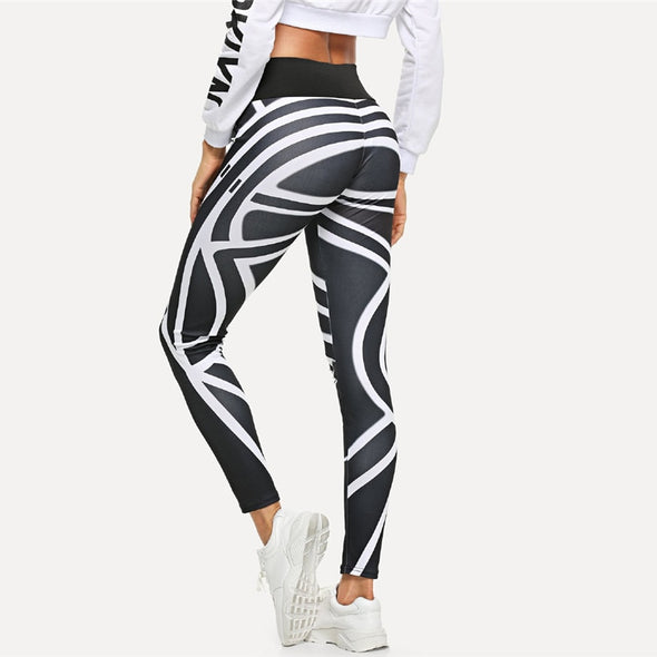 Side Striped Casual Graphic Print Skinny Leggings
