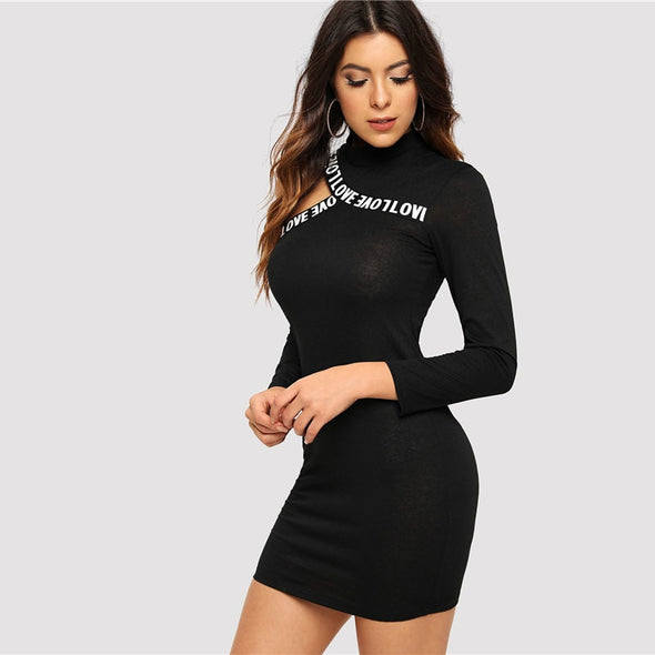Black Cut-Out Letter Print Fitted Bodycon Dress