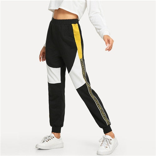 Contrast Letter Tape Cut And Sew Sweatpants