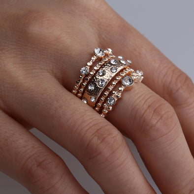 Boho Crystal Ring Set