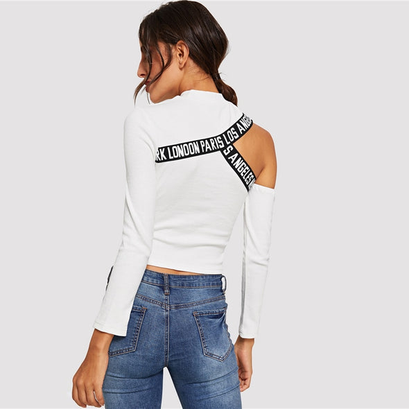 Cut Out Shoulder Letter Tape Fitted Tee