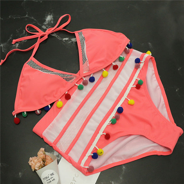 Halter Retro Mesh Hollow Out String Bikini Set