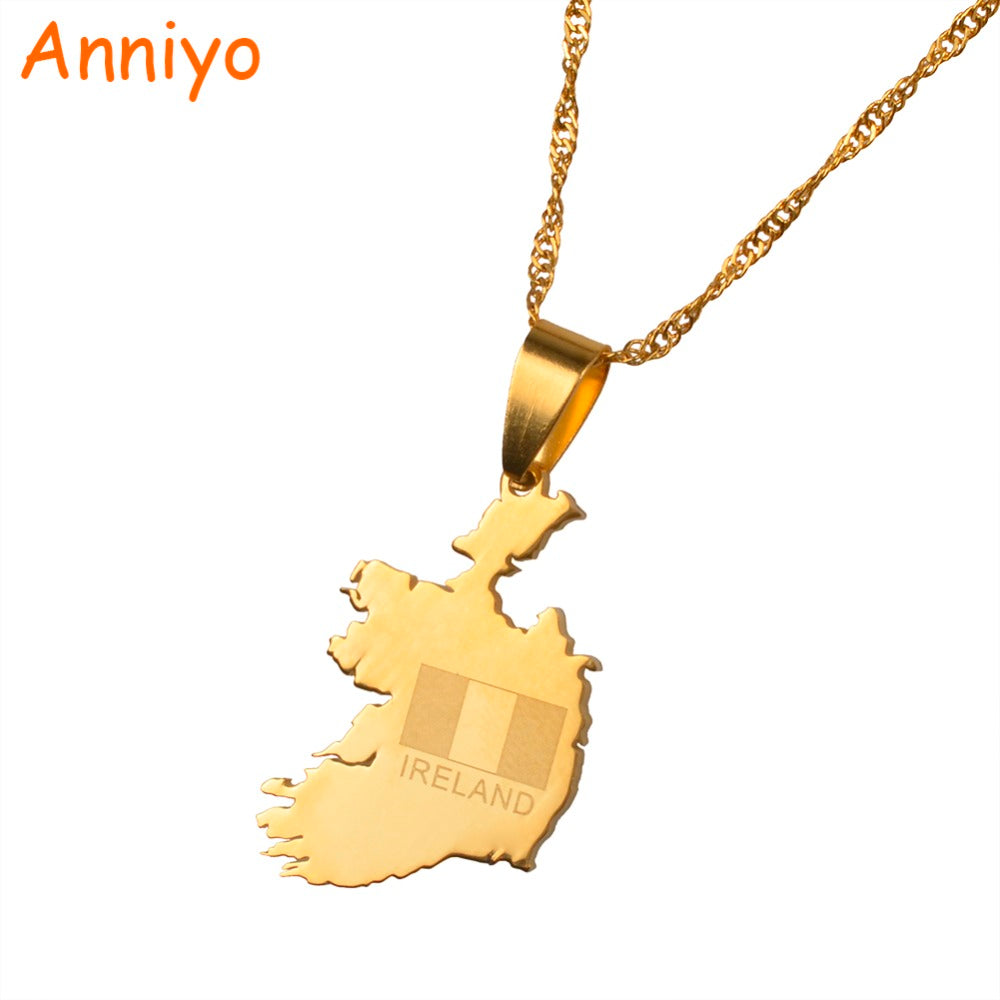 Anniyo The Republic of Ireland Map Gold Color Pendant and Thin Chain Necklaces Poblacht na Heireann Country Maps Jewelry #020821