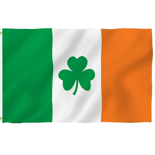 3x5Ft Ireland Shamrock Flag Polyester Leaf Saint Patrick's Day Clover Flags Banner Parade Event Decoration Flying Bunting Flags