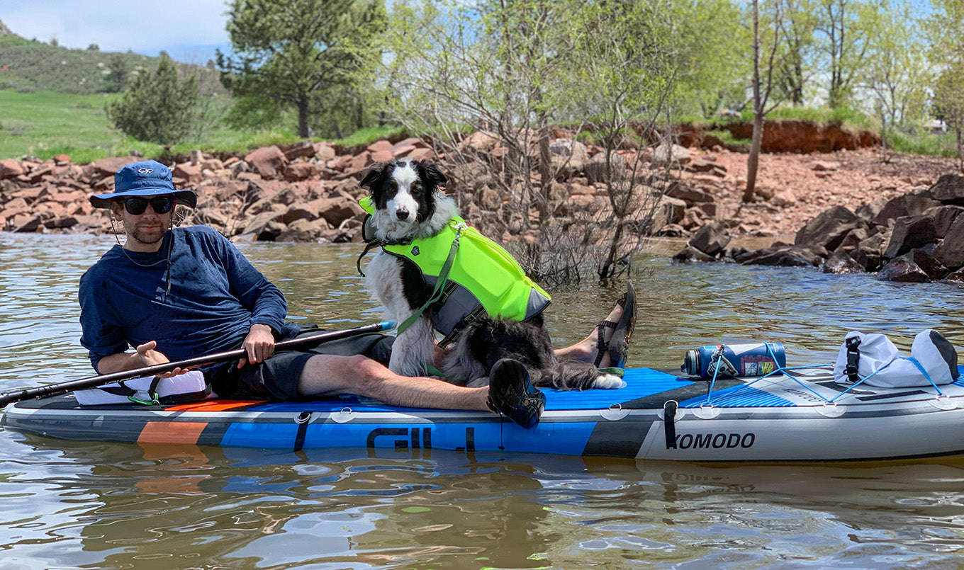 Best paddle board for dogs - lying down with dog