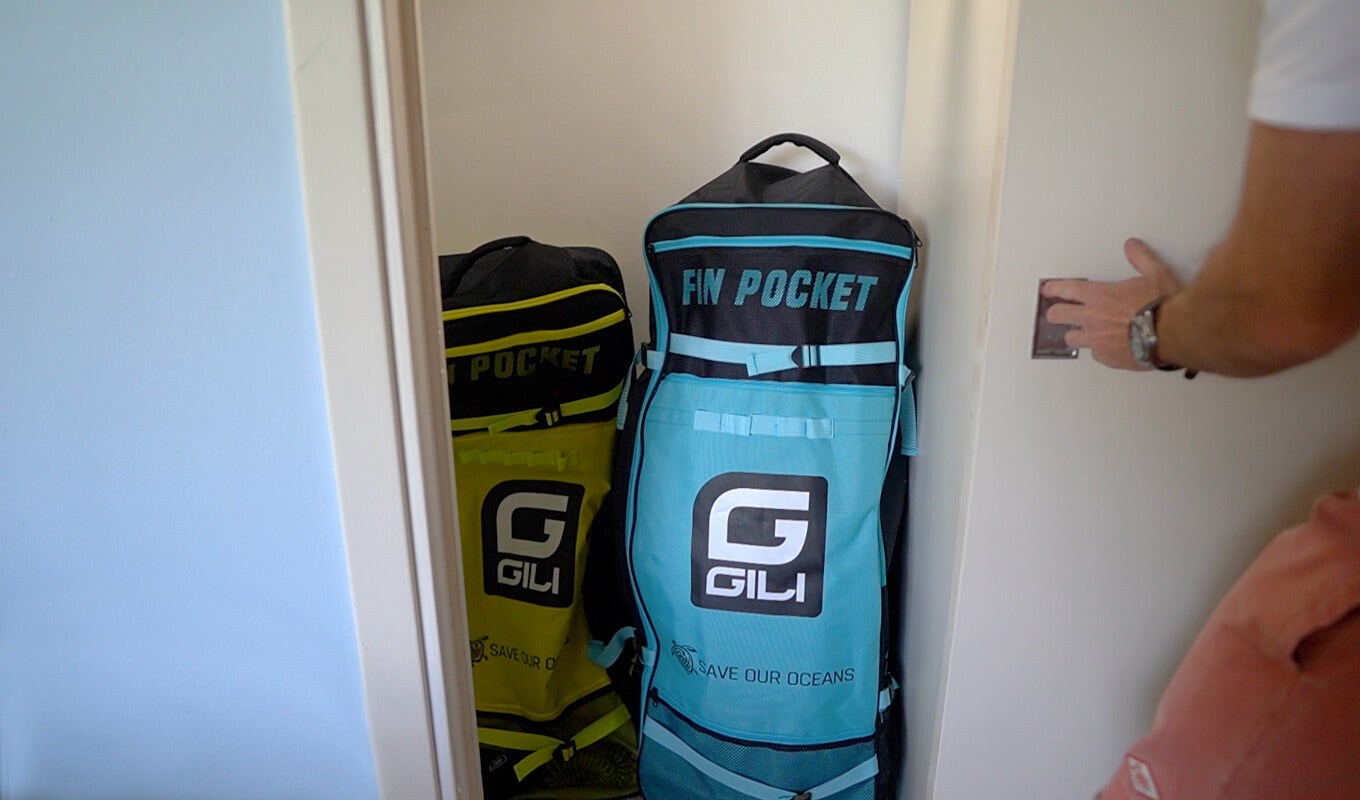 Blue and green paddle board bag