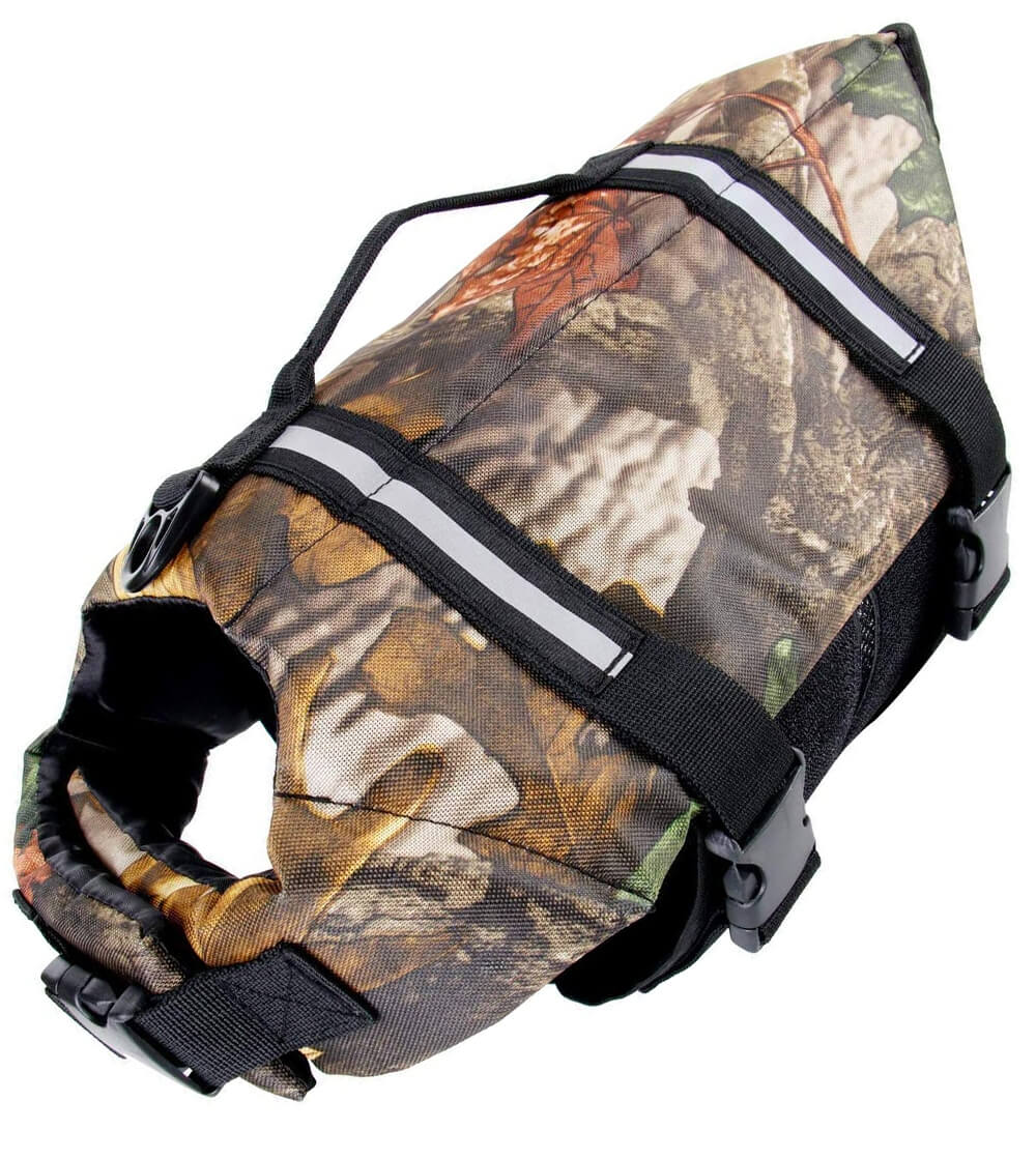 Durable camo pet life preserver jacket for small dogs