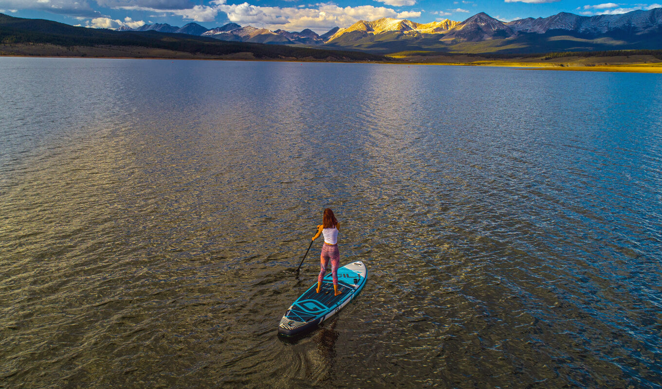 Inflatable SUP boards on lake