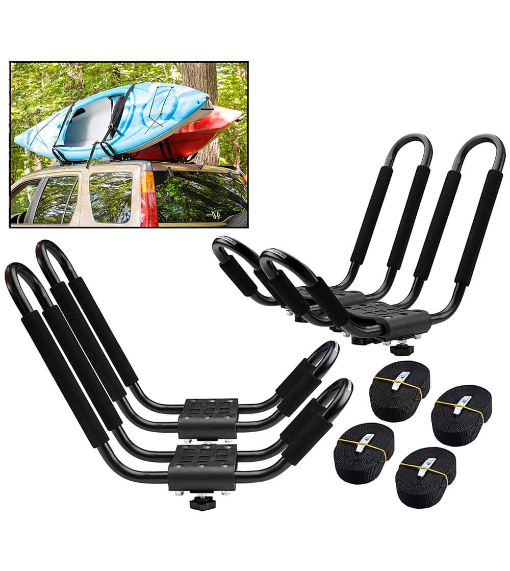 Paddlesports Car and ATV Kayak Roof Rack Two Sets with Straps