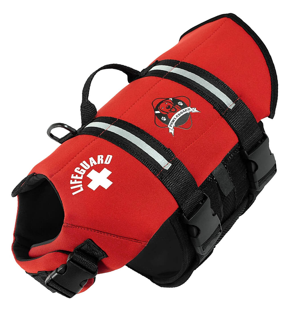 Red paws aboard dog life jacket vest for small dogs
