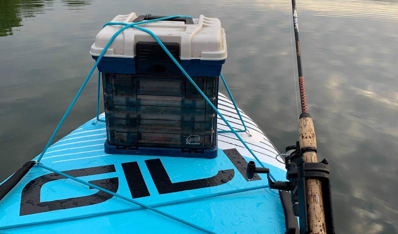 Tackle box on a gili SUP board with rod holder