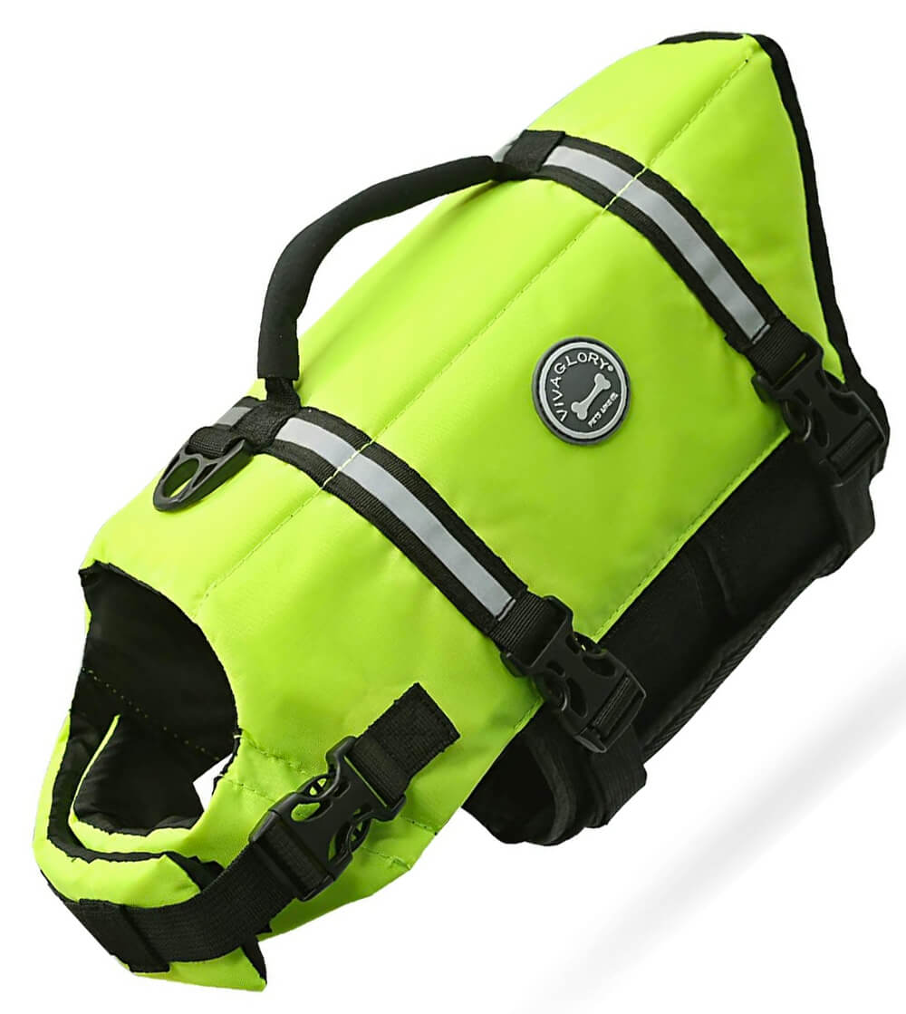 Green vivaglory ripstop life jacket for small dogs