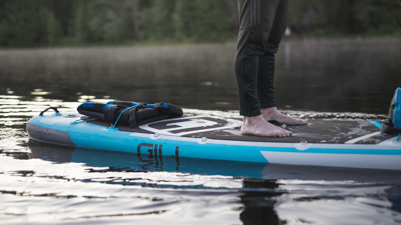 best paddle boards for beginners - feet