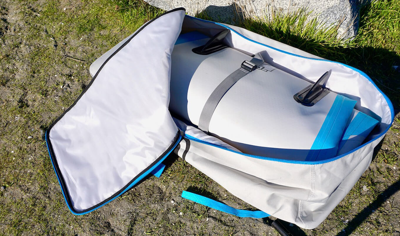 Inflatable SUP deflated in bag