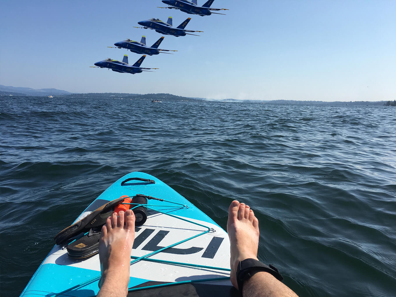 Paddle boarding with the Blue Angels