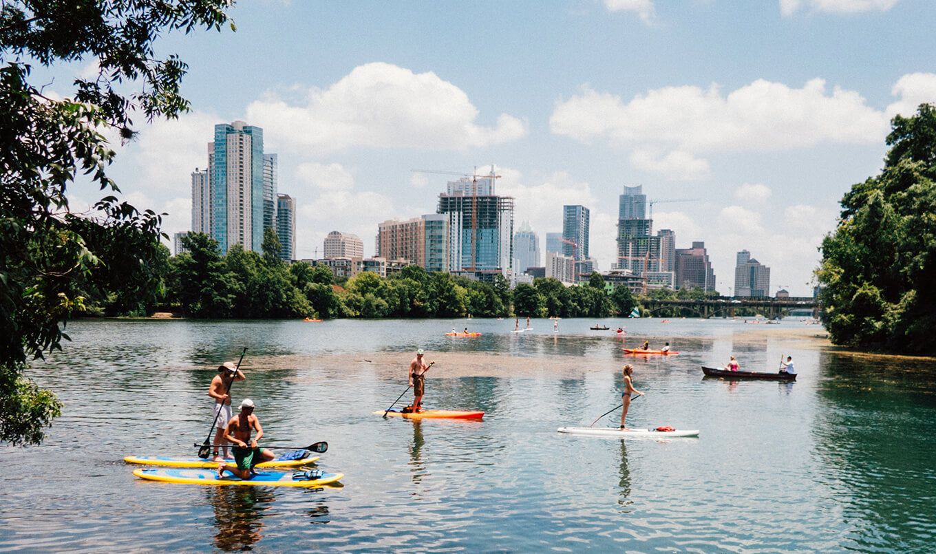 Paddle Boarding off Snake Island in Austin, Texas