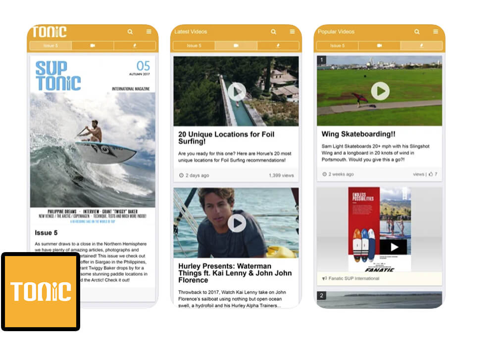 Tonic Mag App for SUP