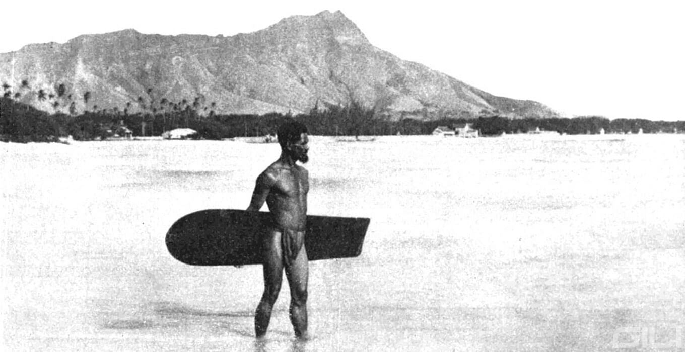A Polynesian Surfer in the Late 19th Century at Waikiki Beach, Oahu