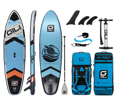 10'6 Komodo Inflatable Paddle Board Package in Blue