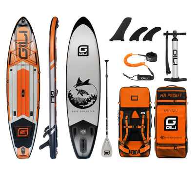 11' Adventure Inflatable Paddle Board Package in Orange