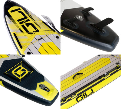 11' Adventure Inflatable Paddle Board Yellow Detailed Photos