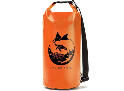 "GILI Waterproof Dry Bag in Orange ""Save Our Reefs"""