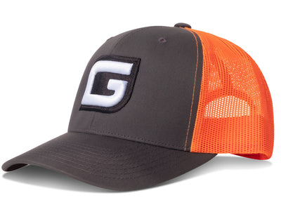 GILI Premium Snapback Trucker Hat: Charcoal/Orange