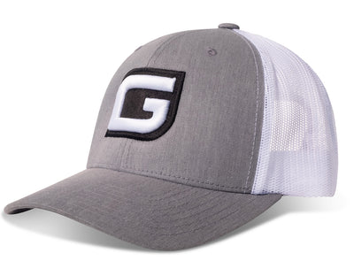 GILI Premium Snapback Trucker Hat: Heather Gray/White