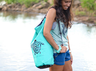 "Waterproof Dry Bag in Teal ""Save Our Turtles"""