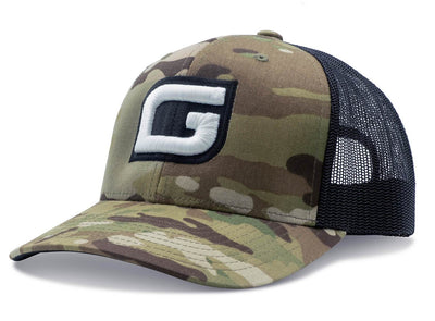 GILI Camo Premium Snapback Hat Multicam with White Logo